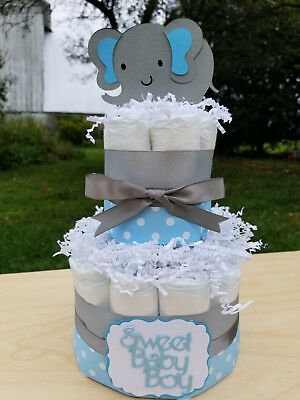 2 Tier Diaper Cake - Blue Elephant Theme Diaper Cake for Baby Boy Shower - Elephant Baby Shower Theme Boy