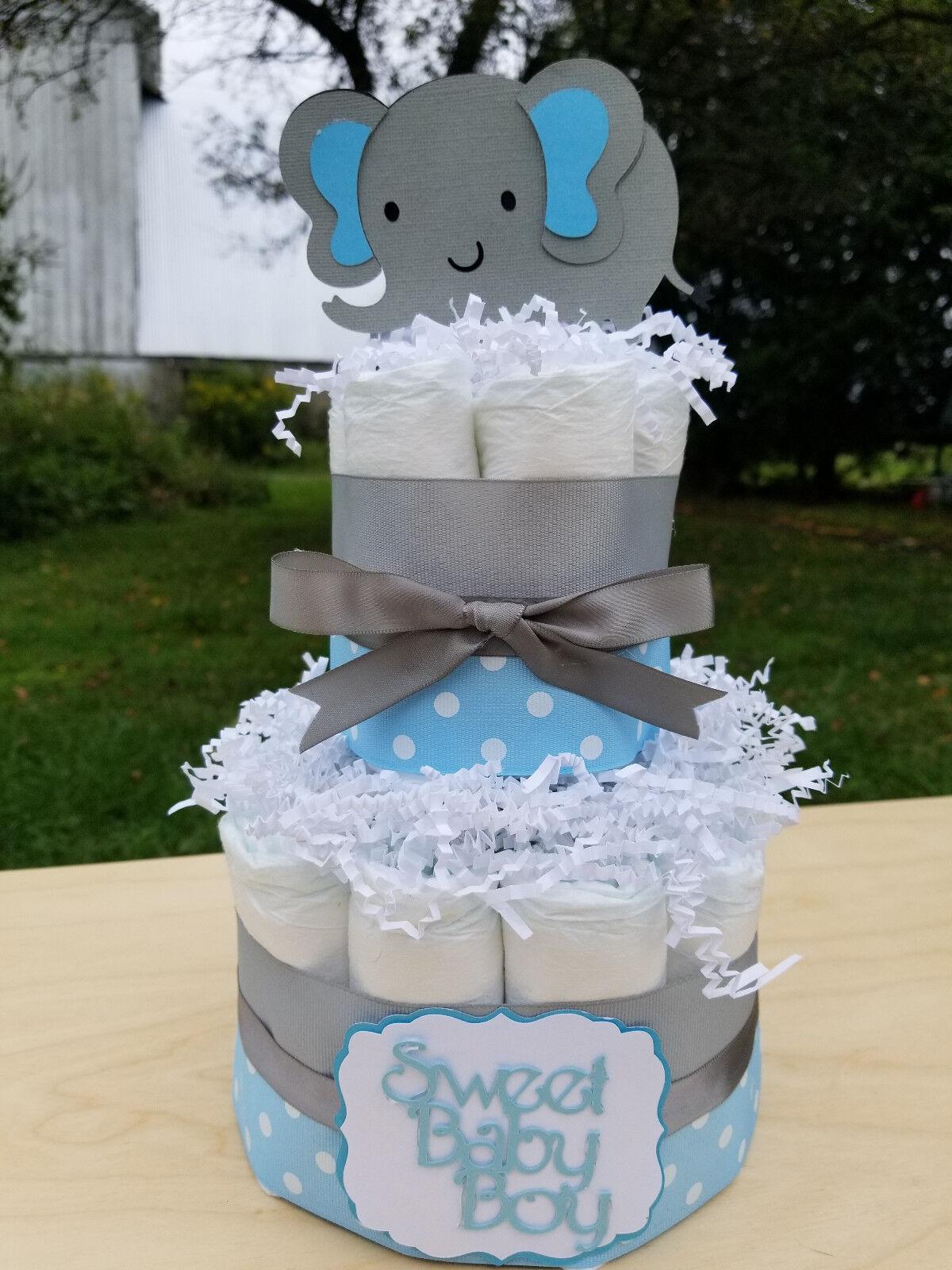 2 Tier Diaper Cake - Blue Elephant Theme Diaper Cake for Bab
