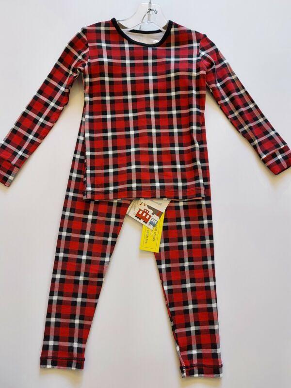 New Kickee Pants Crimson 2020 Plaid Holiday LS Pajamas set,size 6,NWT