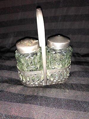 Vintage glass salt & pepper Shakers set in Oval Chrome metal basket ()