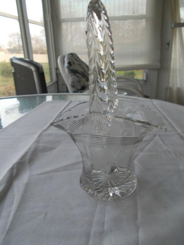 """Vintage Glass Clear 9"""" Tall Brides Basket From Estate Floral Design"""