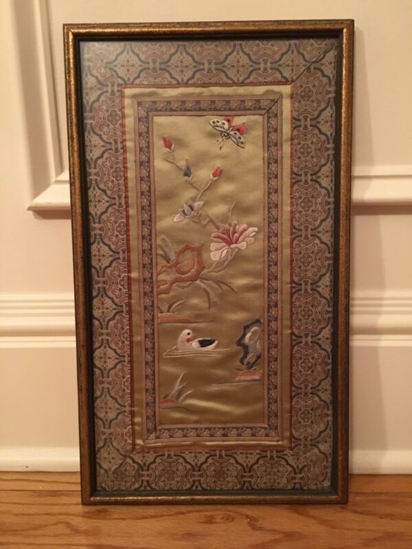 """Vintage Asian Silk Hand Embroidery Panel Professionally Framed- 17 1/2"""" x 10"""""""