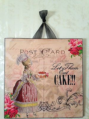 French Marie Antoinette  Let Them Eat Cake  Roses Wall Decor Sign Plaque Shabby