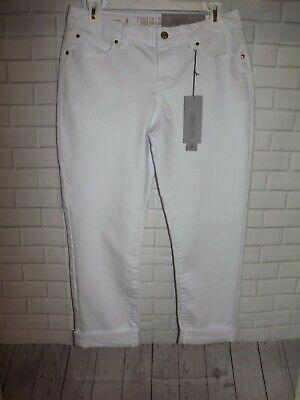 Jennifer Lopez Capri Crop Pants Size 12 White Cotton Blend Denim Jeans Cuffed Cuffed Denim Crop Pants