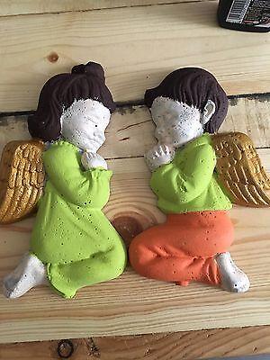 Engel Junge und Mädchen Weihnachtsdeko Gartenfigur Grabschmuck Steinfigur Beton