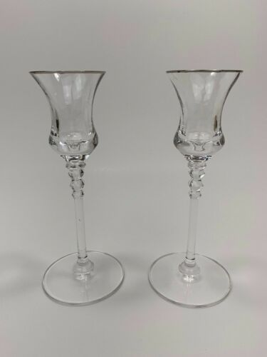 Crystal Clear Candle Holder with Silver Trim on Rim