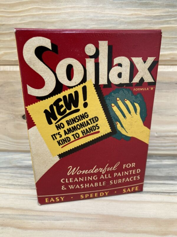 NOS 1949 Vintage SOILAX Cleanser Cleaning Soap Full/Boxed - Antique Advertising