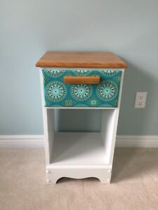 Refinished Nightstand with matching fabric
