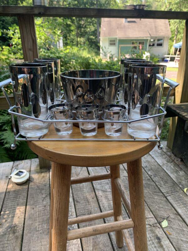Vntg Dorothy Thorpe Set Silver Dot Glass Tumblers Shot Glasses Ice Bucket/Caddy