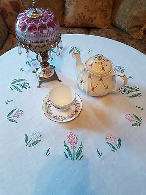 Vintage Embroidered Linen Tablecloth, 126cm x 124cm