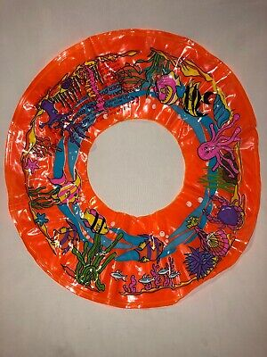 """Kids Inflatable 18"""" Orange Clear Fish Float Swimming Ring Training Aid Pool New"""