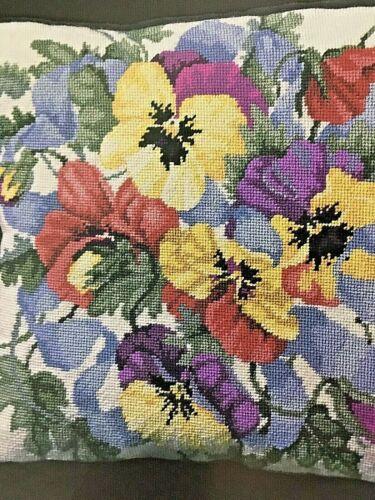 "2002 Bucilla Needlepoint Kit# 4699 PERFECT PANSIES PILLOW 14"" x 14"" wool yarn"