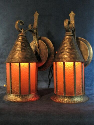 Sconces (2)Porch or Wall Vintage Mission Arts & Crafts Bungalow Hammered Finish