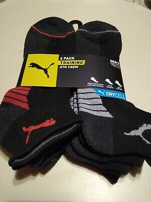 Puma Men's Socks 6 pairs pack Training Quarter Crew 10-13 SHOE Sz 6-12 Black