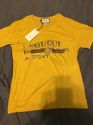 4c670f92eb0 GUCCI COCO CAPITAN YELLOW GOLD LOGO T SHIRT SIZE MEDIUM RARE SOLD OUT GHOST  NEW