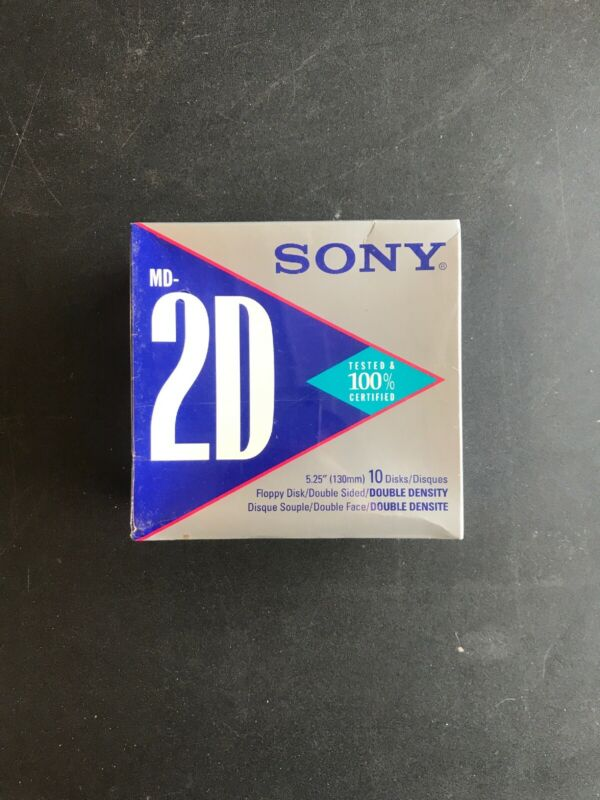 "Sony 5.25"" Box of 20 Floppy Disks Double Sided MD-2D Free shipping"