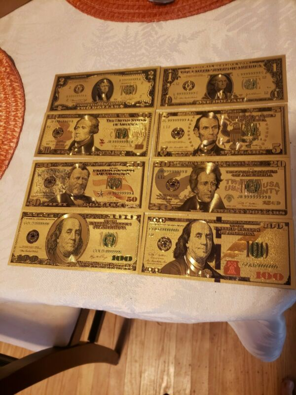 US Dollar Bills Lot of (8) Gold & Green Color Money 1,2,5,10,20,50,100,+ new 100