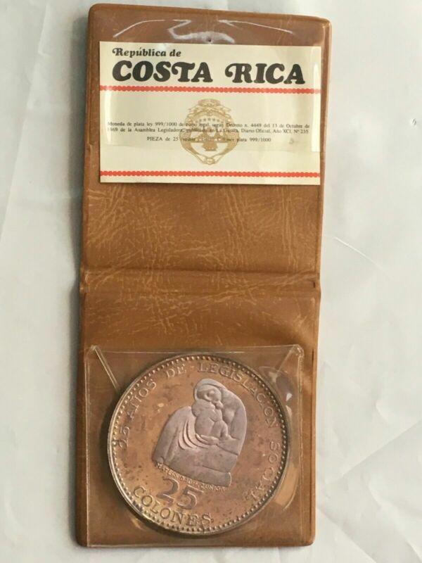 1970 Costa Rica 25 Colones Social Legislation With Original Case #B449 Silver!