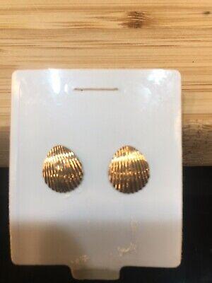 14k Yellow Gold Scallop Sea Shell Mermaid Nautical Jewelry Post Stud Earrings 14k Gold Post Nautical Earrings