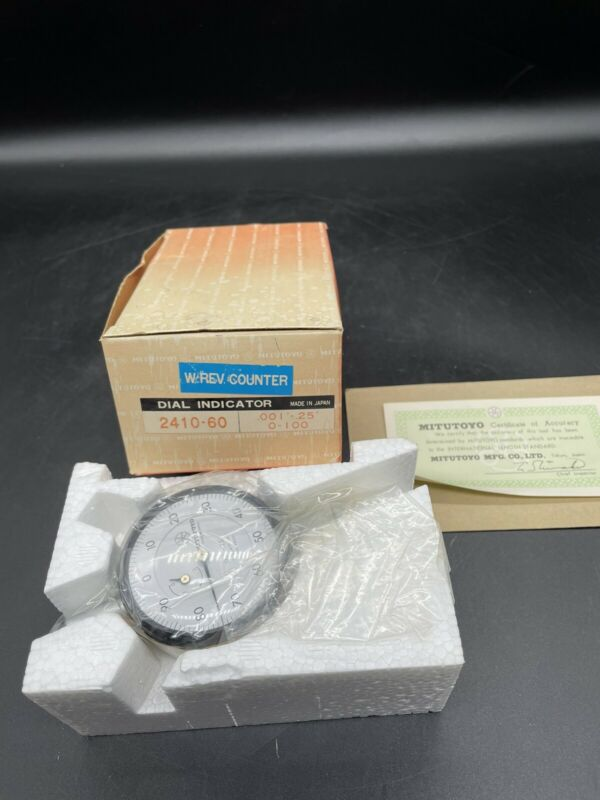 """Mitutoyo Dial Indicator No 2410-60 .001-.25"""" Made in Japan W/ Rev Counter NEW"""