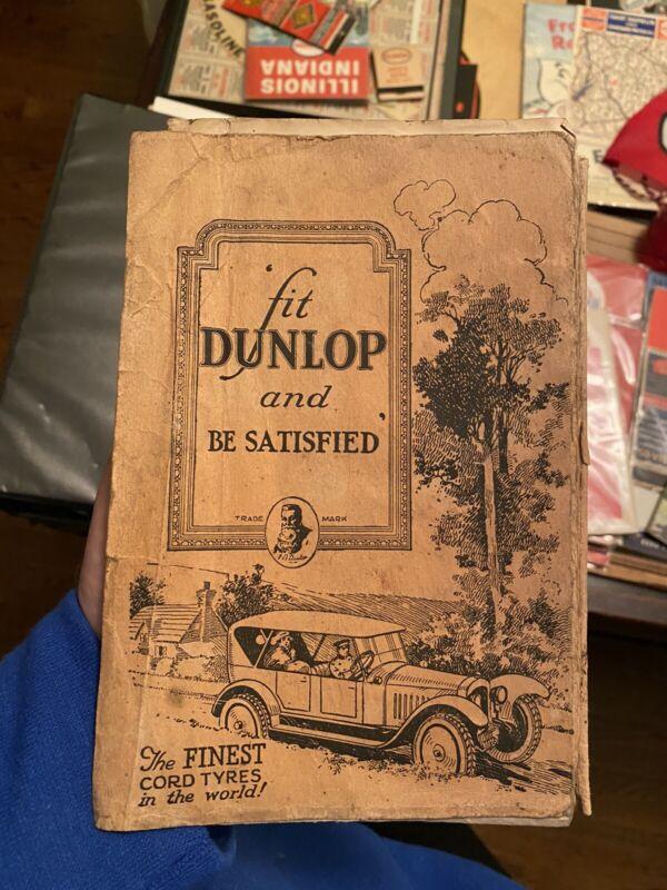 Rare 1920s Dunlop Tire Road Map - UK Britain Tyre Guide Automobile Oil Gas