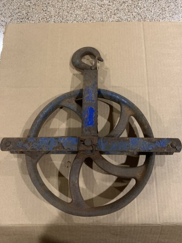 """Antique Well Pulley LARGE 12"""" wheel heavy iron barn industrial rustic Blue Paint"""