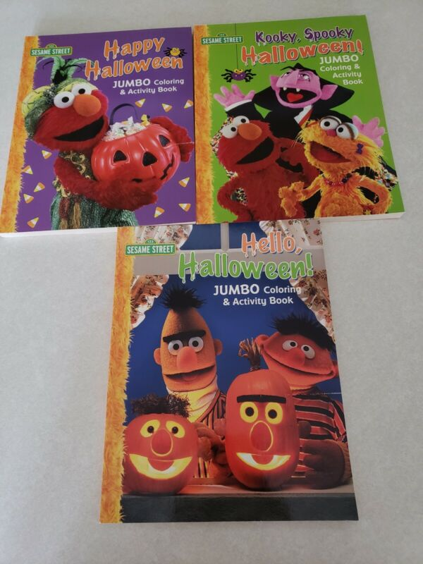 Set of 3 Sesame Street Halloween Themed Jumbo Coloring & Activity Books