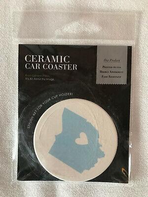 Ceramic Car Coaster Cup Holder Lantern Press weiß hellblau USA Ohio Herz NEU - Car Coaster