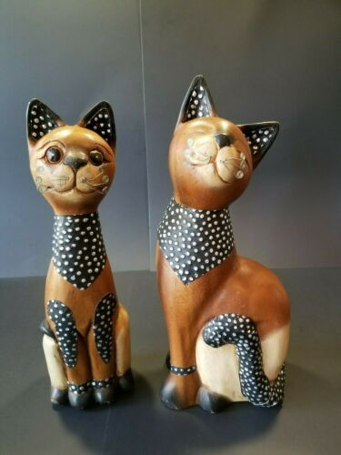 Two Wooden Cat Statues