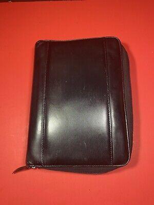 365 By Franklin Covey Black Leather Organizer 7-ring Binder 10x7.25