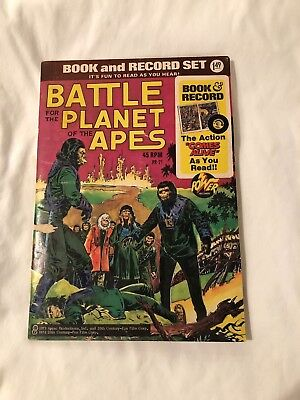 """Vintage """" Battle For  The Planet of The Apes"""" Book and Record Set, 1973"""