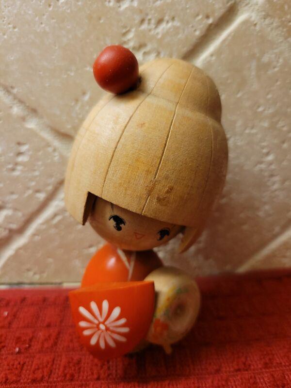 Vintage Signed Japanese Kokeshi Wood Doll
