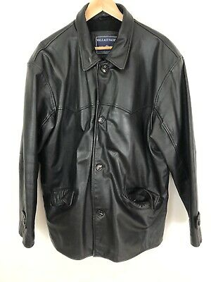 Wallace Sacks Black Leather Jacket Long Vintage Heavy Size L