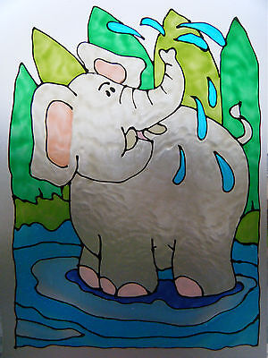ELEPHANT JUNGLE WILD ZOO ANIMAL WINDOW PAINT PICTURE DECORATION CLING