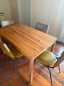 Wooden Table with 4 Vintage Leather Chairs