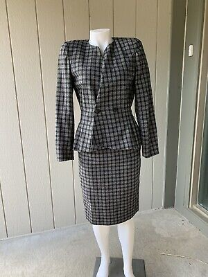Authentic Vintage CHRISTIAN DIOR Size 4 100% Wool 2-Piece Skirt Suit