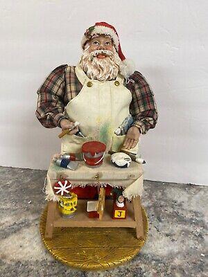 "Santa Claus Toy Shop Artist Workbench Figurine Christmas  11"" Fabric Mache ()"