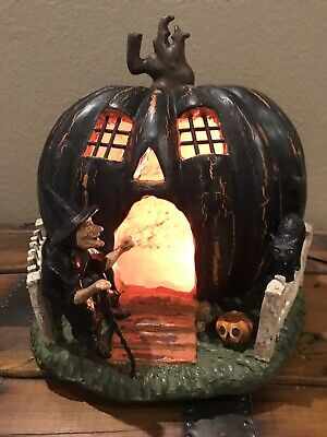 Bethany Lowe There Was An Old Witch W/Pumpkin House & Black Cat—retired-Rare