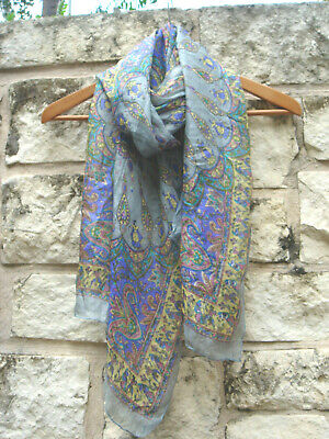 Vintage Scarf Styles -1920s to 1960s Vintage India Rectangle 100% Silk Scarf Sheer Blue Purple Yellow Paisley 19