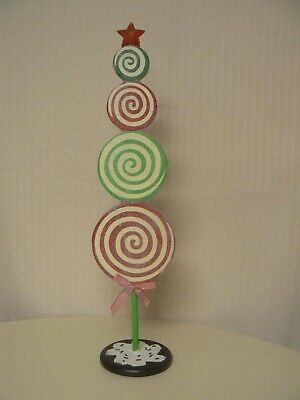Hallmark Lollipop Christmas Tree Display Sign with Star Topper Red Green White