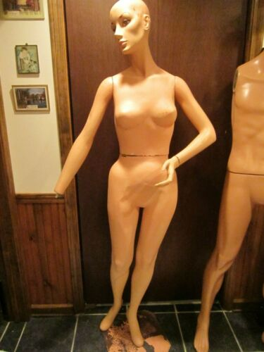 """Vintage 5 ft. 8"""" tall female store mannequin - composite & wood - GC"""