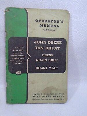 John Deere Operators Manual Van Brunt Press Grain Drill Model Ll