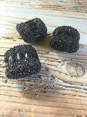 Bottoni Gioiello 1960 Nero Autentici Bottone Quadrato
