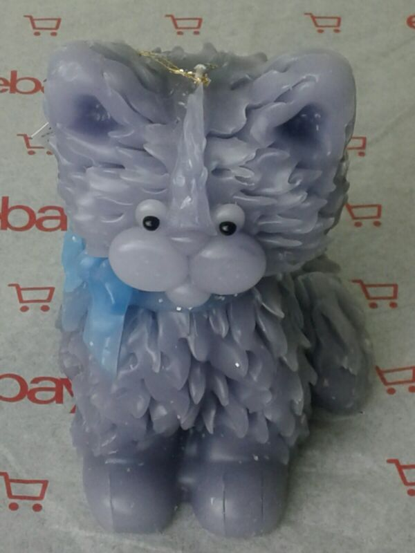 New Blue Cat Candle Northern Lights Candle Co. Vintage Artist Signed W/tag