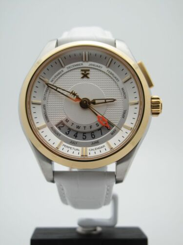 6d3359063b4 Timex TX Men's Perpetual Calendar White Dial Two Tone Leather Band Watch  T3C504