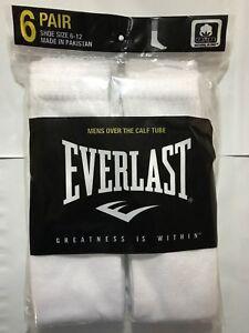 Mens Over The Calf Tube Socks 6 Pair White Socks Size 10-13 Everlast Brand SALE