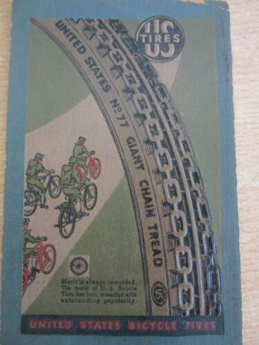 Early 1900s United States Bicycle Tires Boy Scout Embossed Cardboard Advertise