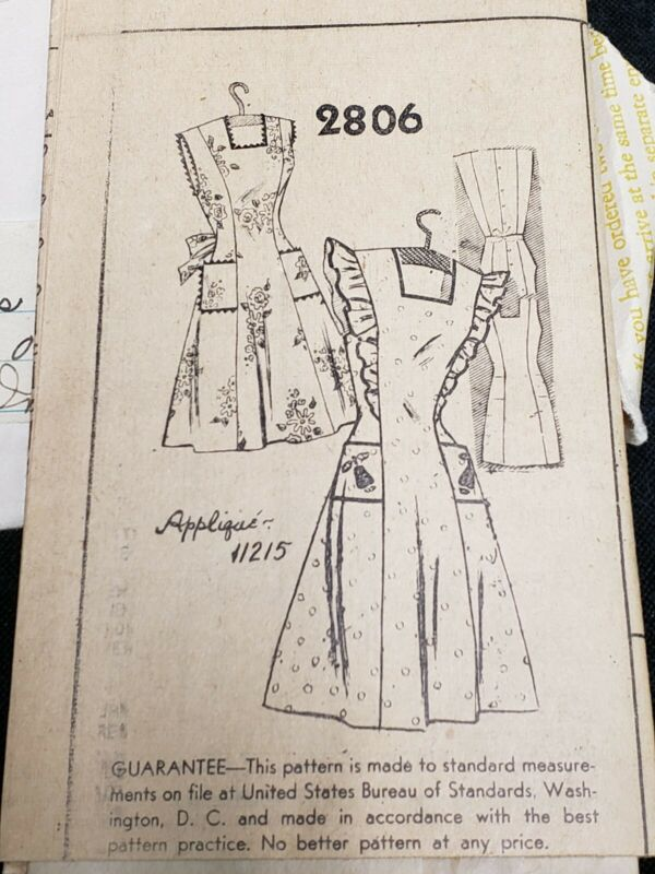 Vintage ORIGINAL Mail Order Apron Pattern Feedsack 1940s Era Size 12