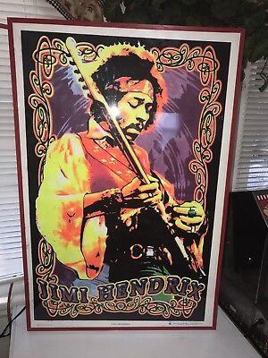 Rare Vintage 2009 Jimi Hendrix Rock Blacklight Poster Framed