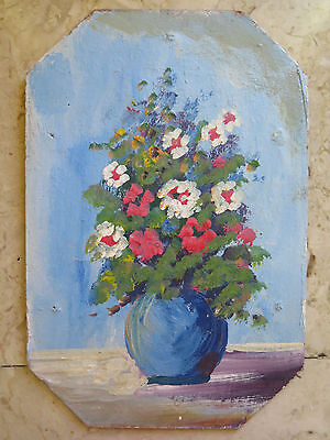 Painting Floral Blossom Painting To oil On Boards Vintage 1960 Original V